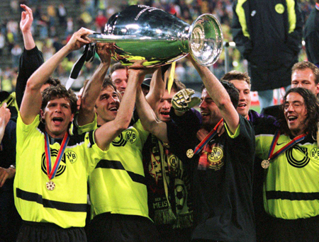 The golden years: Borussia Dortmund won the league two times in a row, before taking home the Champions League trophy in '97.